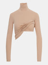 Built in bra luxury top t shirt turtleneck top beige nude Beach