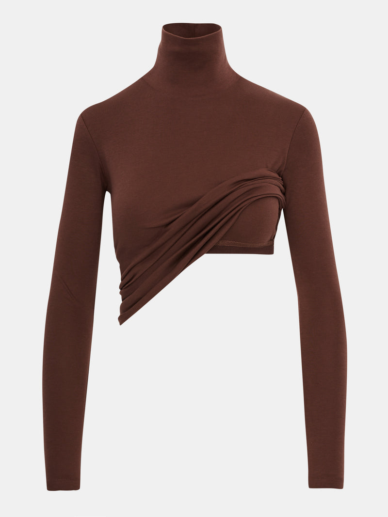 Built in bra luxury top t shirt turtleneck top brown Chocolate