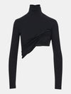 Built in bra luxury top t shirt turtleneck top black Jet