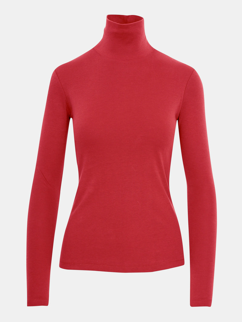 Built in bra luxury top t shirt turtleneck top red Heart