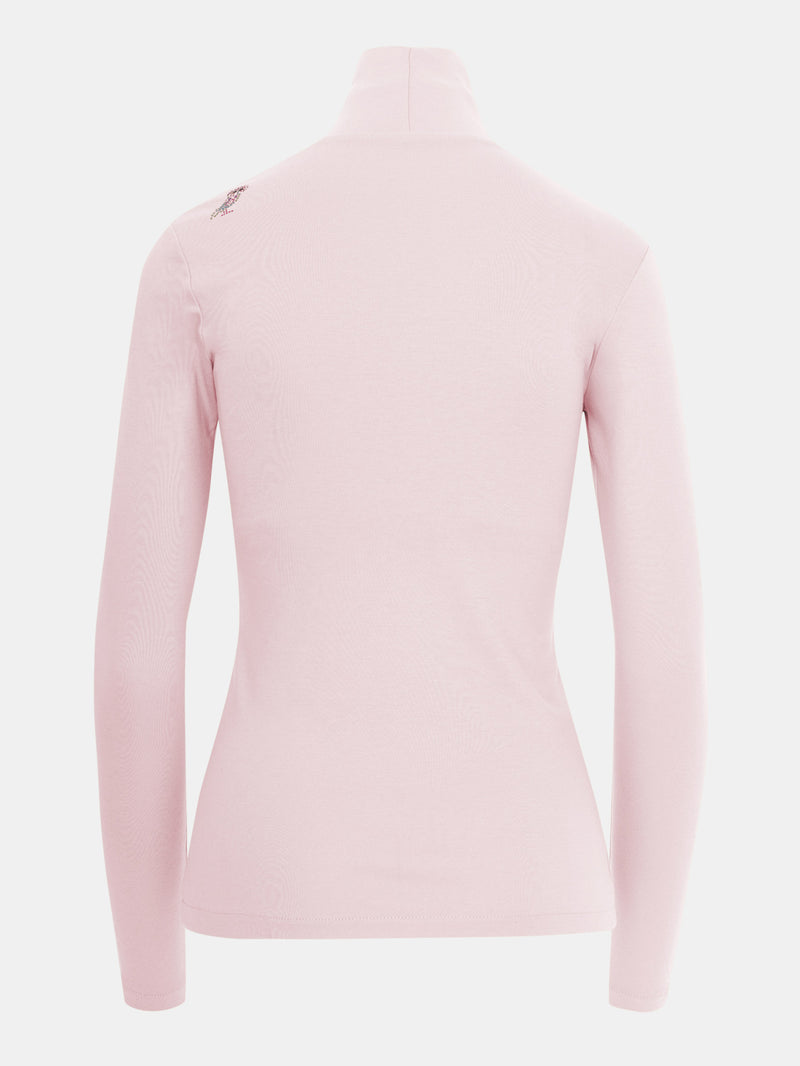 Built in bra luxury top t shirt turtleneck top pink Petal
