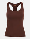 Built in bra luxury top t shirt racer back top brown Chocolate