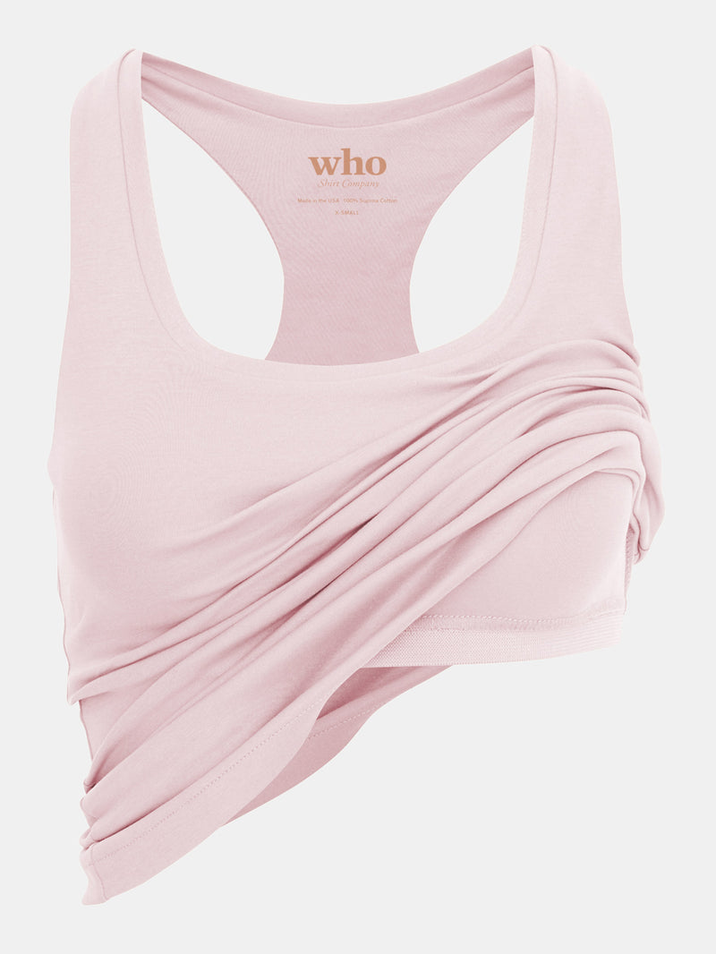 Built in bra luxury top t shirt racer back top pink Petal