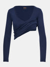 Built in bra luxury top t shirt long sleeved v neck navy blue Admiral