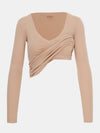 Built in bra luxury top t shirt long sleeved v neck beige nude Beach