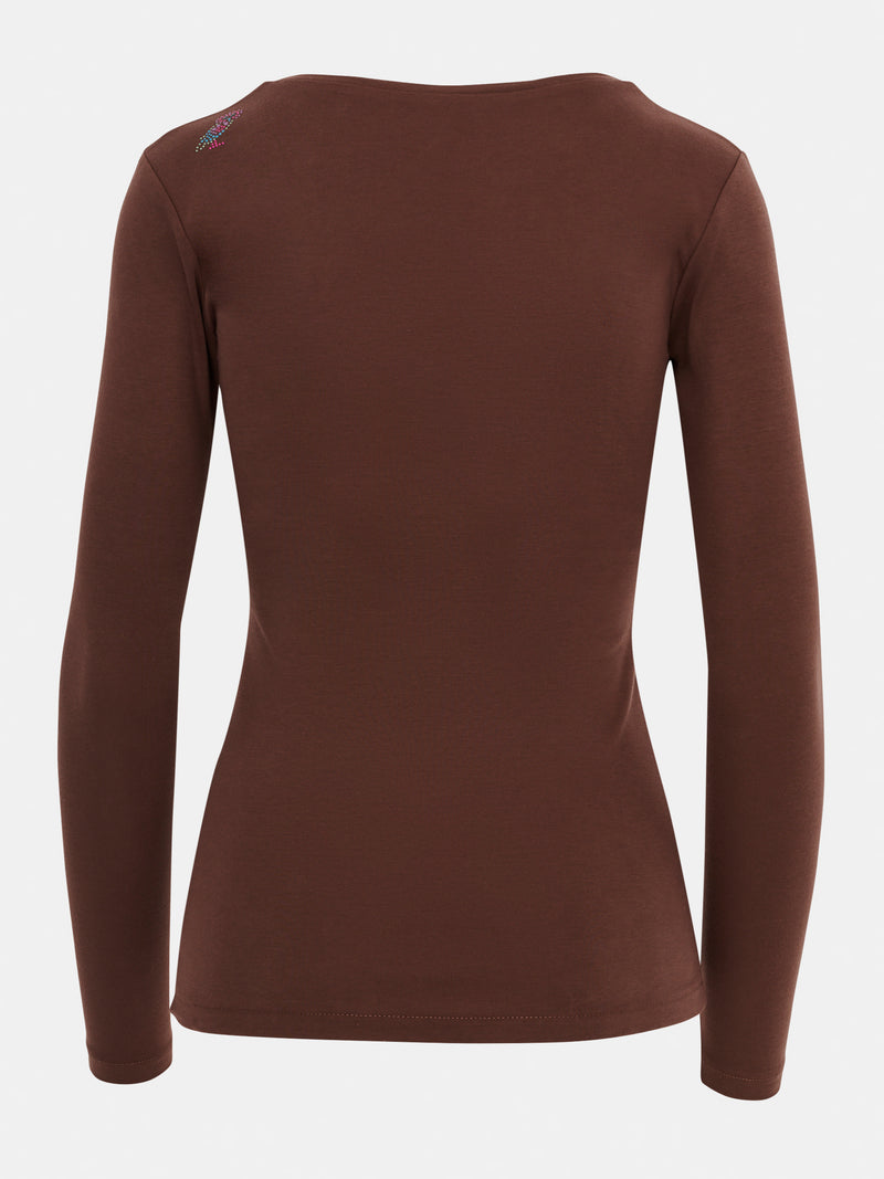 Built in bra luxury top t shirt long sleeved v neck brown Chocolate