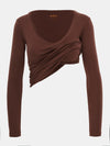 vChocolateBuilt in bra luxury top t shirt long sleeved v neck brown Chocolate