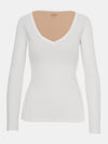 Built in bra luxury top t shirt long sleeved v neck white Cloud