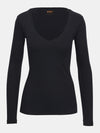 Built in bra luxury top t shirt long sleeved v neck black Jet