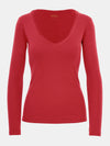 Built in bra luxury top t shirt long sleeved v neck red Heart
