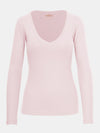 Built in bra luxury top t shirt long sleeved v neck pink Petal