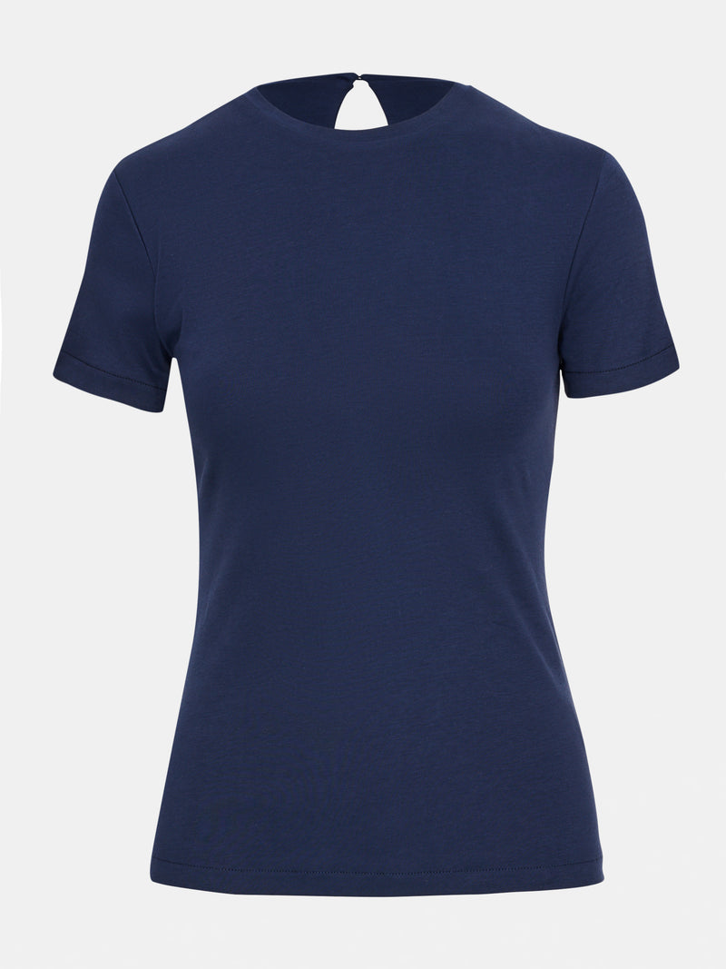Built in bra luxury top t shirt navy blue Admiral