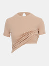 Built in bra luxury top t shirt beige nude Beach