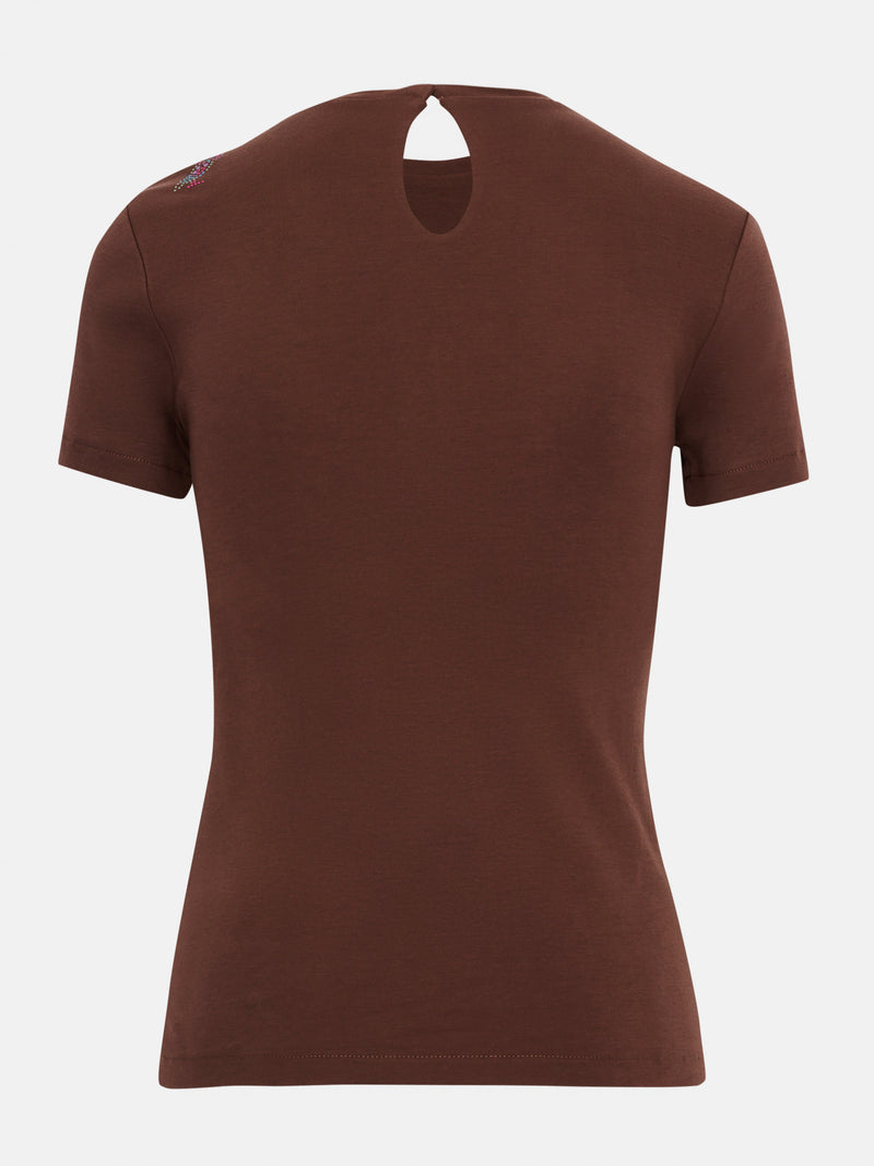 Built in bra luxury top t shirt brown Chocolate