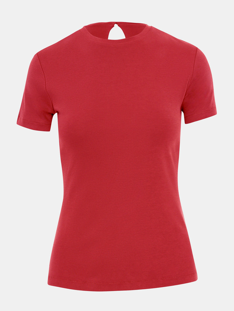 Built in bra luxury top t shirt red Heart