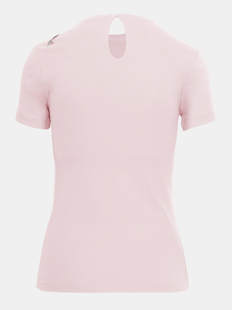 Built in bra luxury top t shirt pink Petal