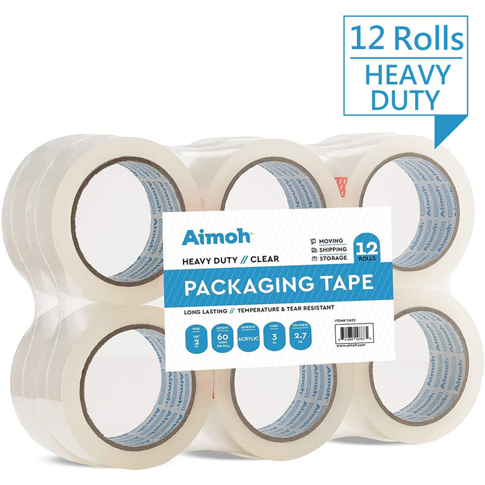 12 Rolls Heavy Duty Clear Packing Tape- Acrylic Adhesive- 2.7mil Super Strong Commercial Grade- 1.88 x 60 Yard- 3 Inch Core- Refill- 12 Rolls (11632) - Aimoh
