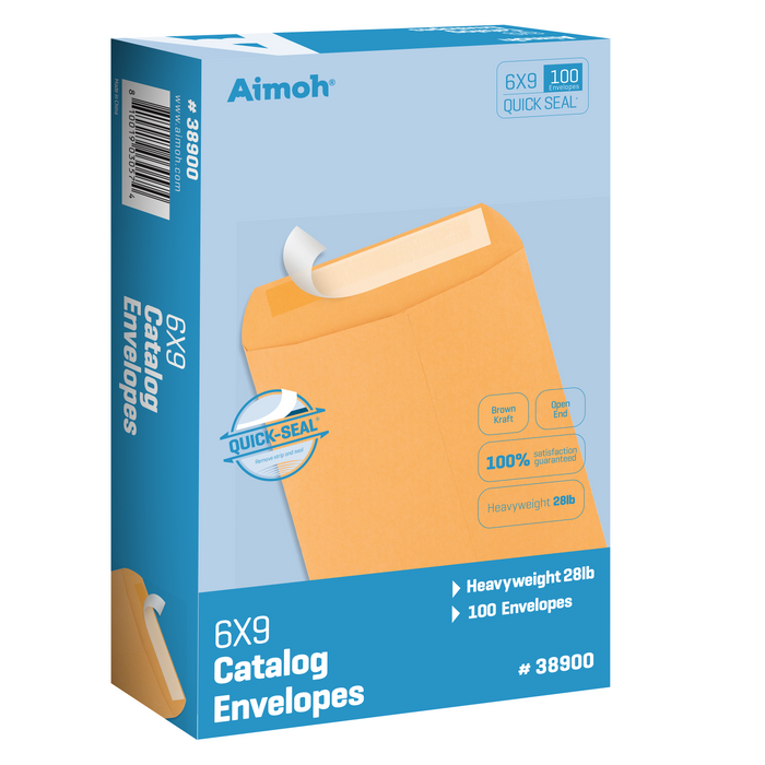 100 6 x 9 Self-Seal Brown Kraft Catalog Envelopes - 28lb - 100 Count, Ultra Strong Quick-Seal, 6 x 9 inch (38900) - Aimoh