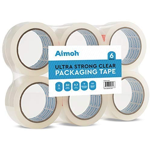 Packing Tape - 2.7mil Heavy Duty - 6 Rolls - Size 1.88 x 60 Yard