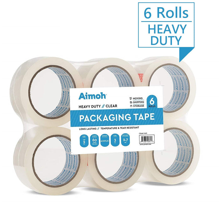 Packing Tape - 2.7mil Heavy Duty - 6 Rolls - Size 1.88 x 60 Yard - Aimoh