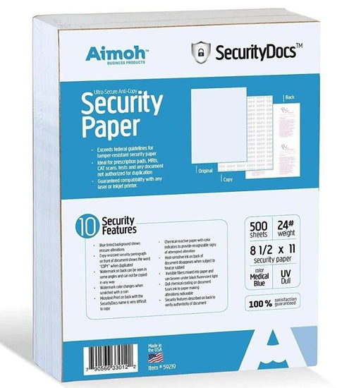 SecurityDocs ULTRA Security Paper - 10 Security Features - Medical Blue - Aimoh