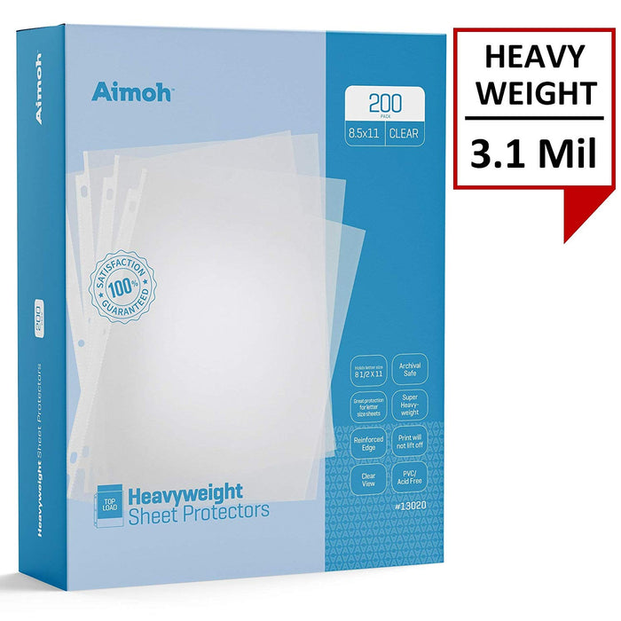 Sheet Protectors - Letter Size - 200 Pack Heavyweight Clear - 8.5 x 11, 3-Hole Punched, Reinforced Edge, PVC/Acid Free-Archival Safe-Print will not lift off, Top Load (13002) - Aimoh