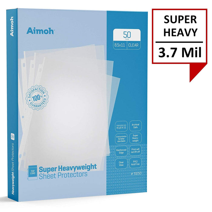 Sheet Protectors - Letter Size - 50 Pack Super Heavyweight Clear - 8.5 x 11, 3-Hole Punched, Reinforced Edge, PVC/Acid Free-Archival Safe-Print will not lift off, Top Load (13250) - Aimoh