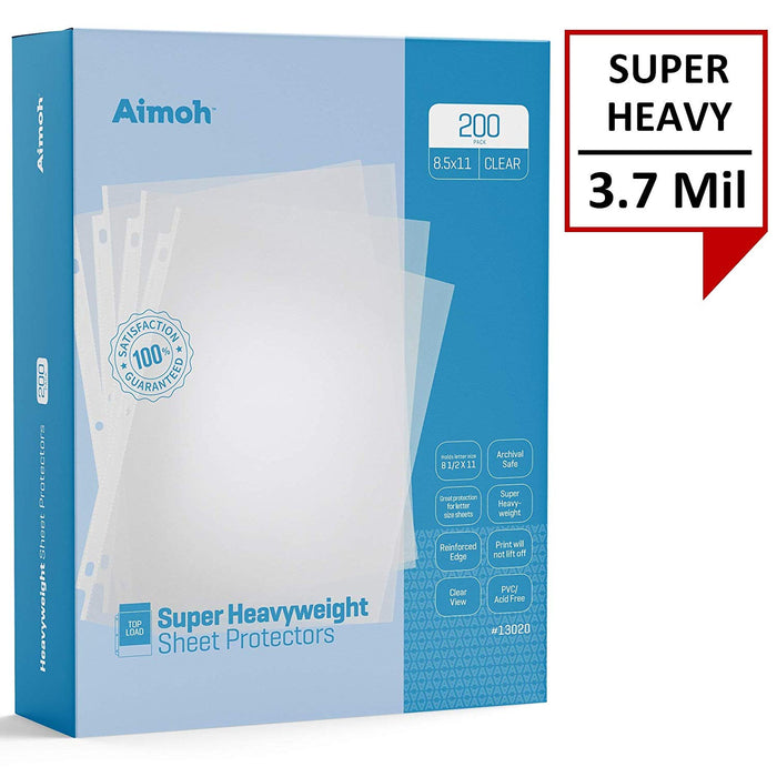 Sheet Protectors - Letter Size - 200 Pack Super Heavyweight Clear - 8.5 x 11, 3-Hole Punched, Reinforced Edge, PVC/Acid Free-Archival Safe-Print will not lift off, Top Load (13020) - Aimoh