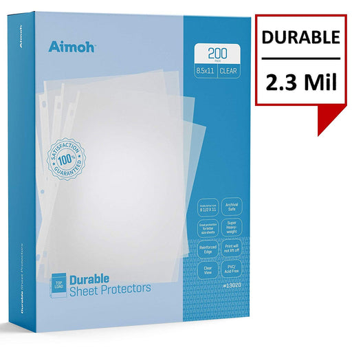 Sheet Protectors - Letter Size - 200 Pack Standard Clear - 8.5 x 11, 3-Hole Punched, Reinforced Edge, PVC/Acid Free-Archival Safe-Print will not lift off, Top Load (13200) - Aimoh