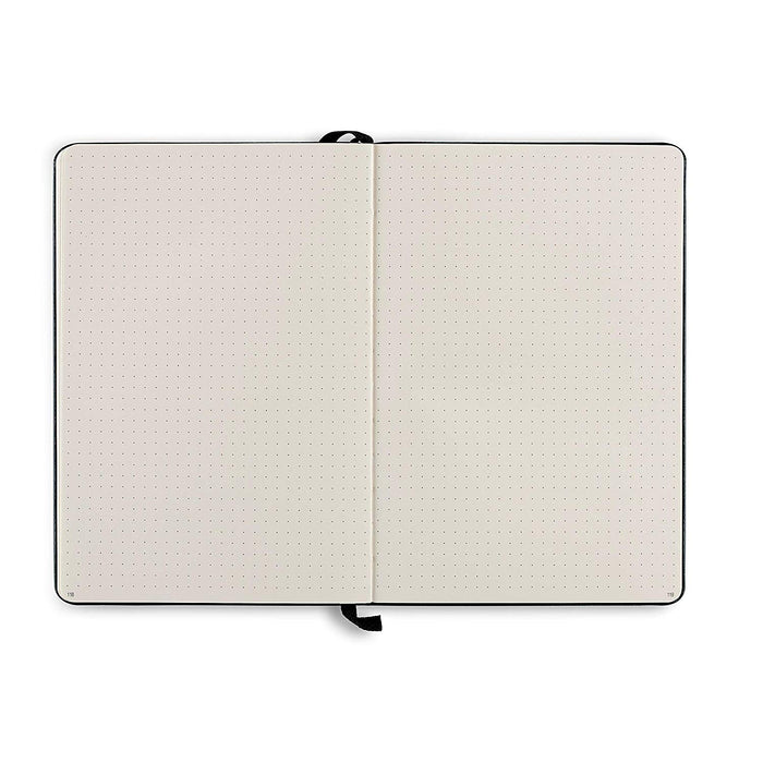 Executive Hardcover Notebook - 190 Dotted Pages Medium Size - A5 - Heavyweight Paper - Black (91260) - Aimoh