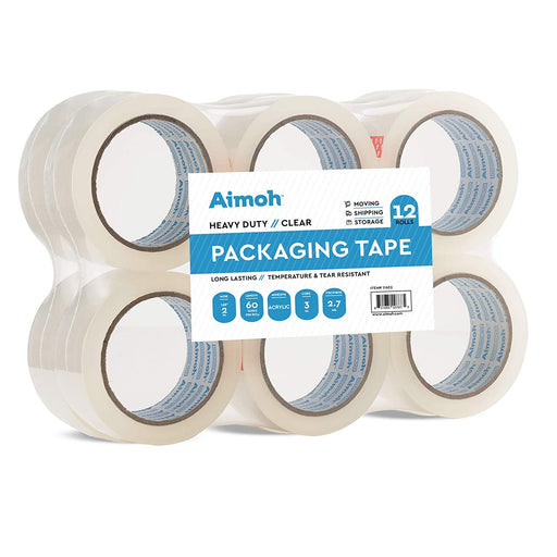 Packing Tape - 2.7mil Heavy Duty - 12 Rolls - Size 1.88 x 60 Yard - Aimoh