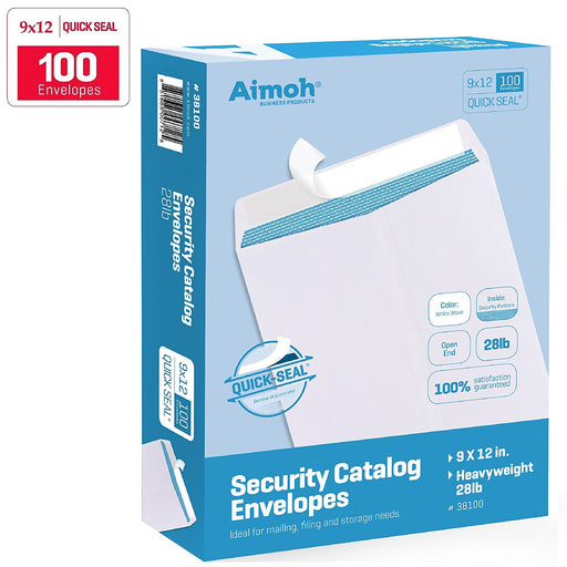9X12 Envelopes - Security Tinted - Self-Seal - White - 100 Count