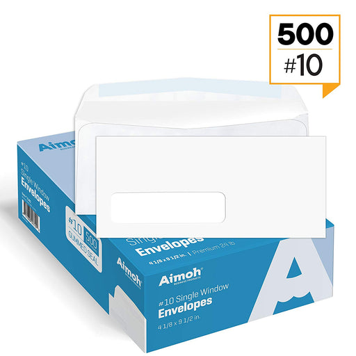 #10 Envelopes - Single Left Window - Gummed - Aimoh