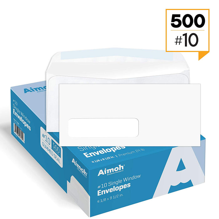 #10 Envelopes - Single Left Window - Gummed