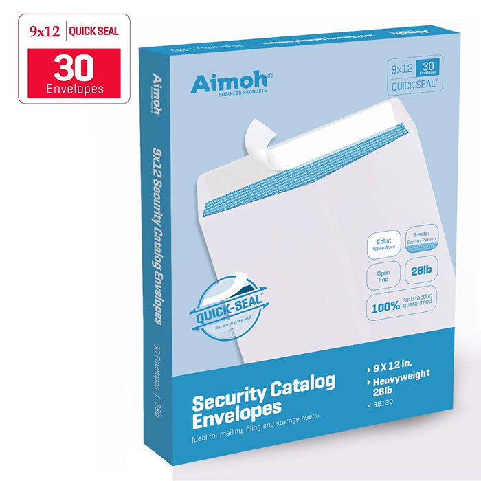 9X12 Envelopes - Security Tinted - Self-Seal - White - Aimoh
