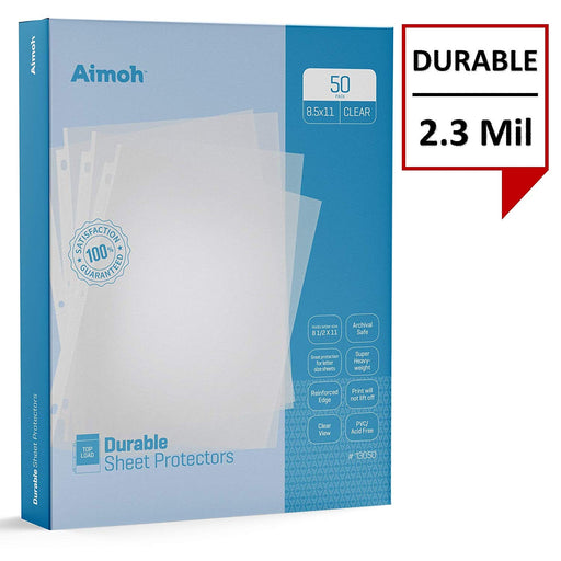 Sheet Protectors - Letter Size - 50 Pack Standard Clear - 8.5 x 11, 3-Hole Punched, Reinforced Edge, PVC/Acid Free-Archival Safe-Print will not lift off, Top Load (13050) - Aimoh