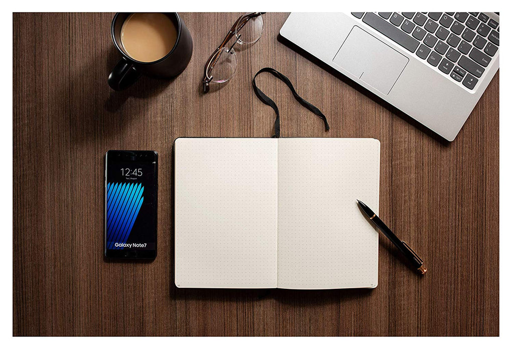 Executive Hardcover Notebook - 190 Dotted Pages Medium Size - A5 - Heavyweight Paper - Black (91260)