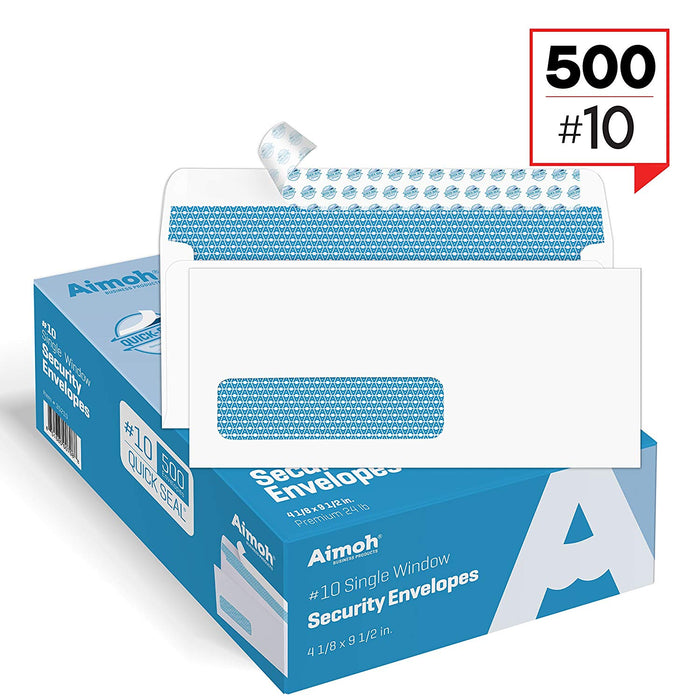 #10 Envelopes - Single Left Window - QUICK-SEAL - Security Tinted - Aimoh