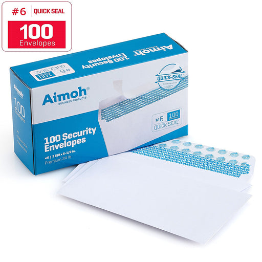 #6 3/4 Security Tinted Self Seal QUICK-SEAL Envelopes - No Window - 100 Count (34600) - Aimoh
