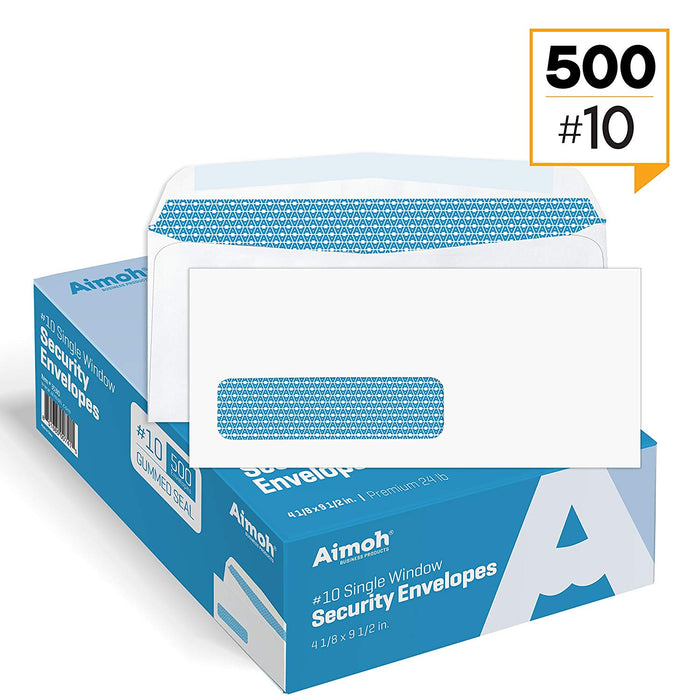 #10 Envelopes - Single Left Window - GUMMED - Security Tinted - Aimoh
