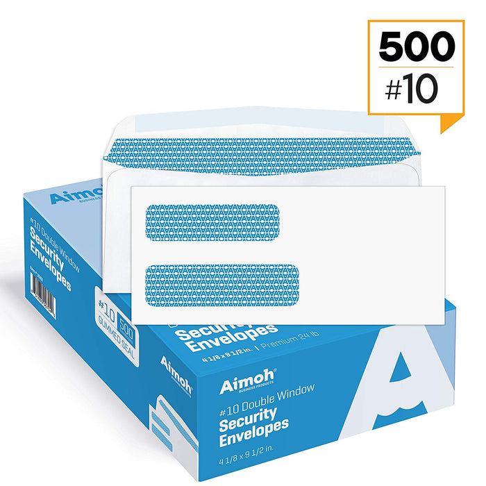 #10 Envelopes - Double Window - GUMMED - Security Tinted