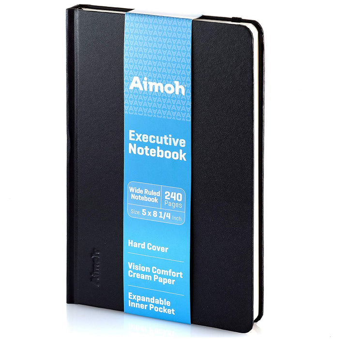 Hardcover Notebook - Wide Ruled Pages - Black