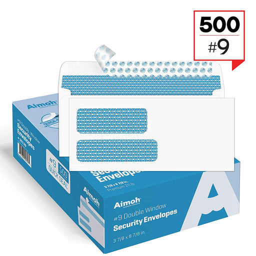 #9 Envelopes - Double Window - QUICK-SEAL - Security Tinted