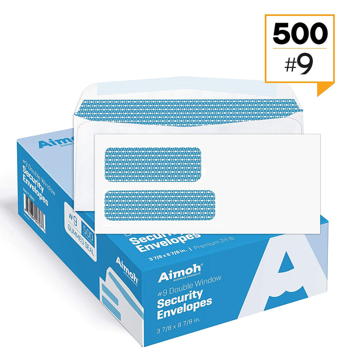 #9 Envelopes - Double Window - GUMMED - Security Tinted - Aimoh