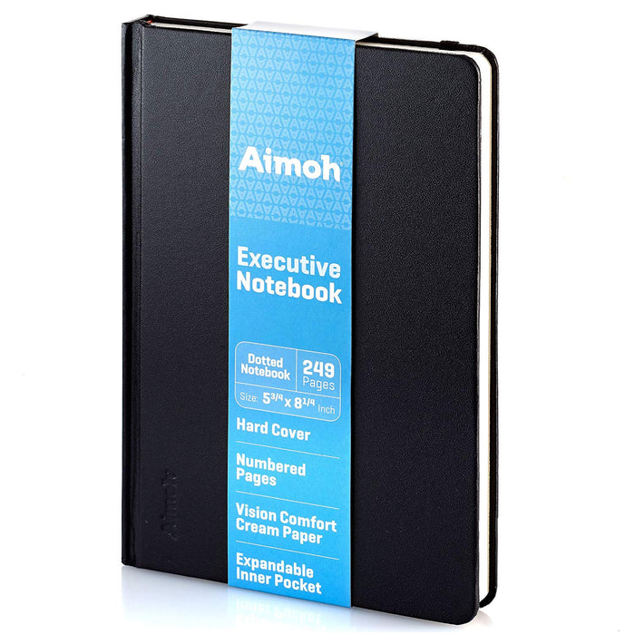Hardcover Notebook - Dotted Pages - Black