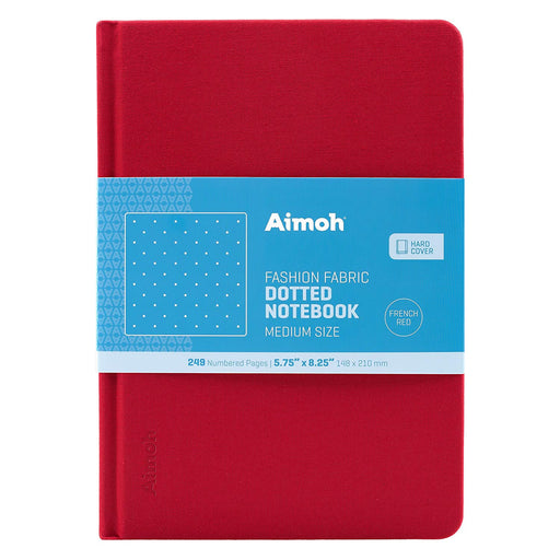 Hardcover Notebook - Dotted Pages - French Red