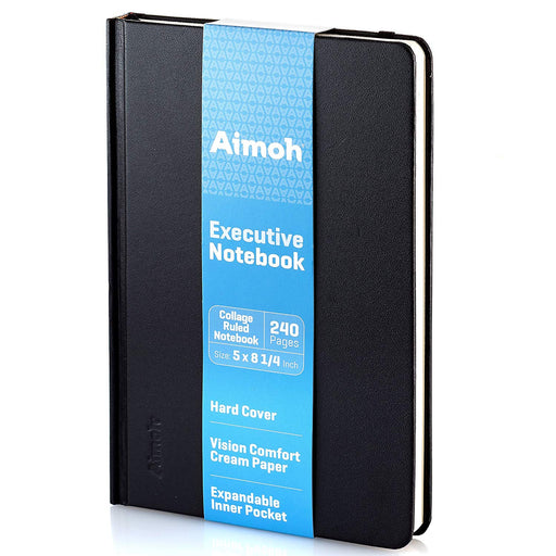 Hardcover Notebook - College Ruled Pages - Black