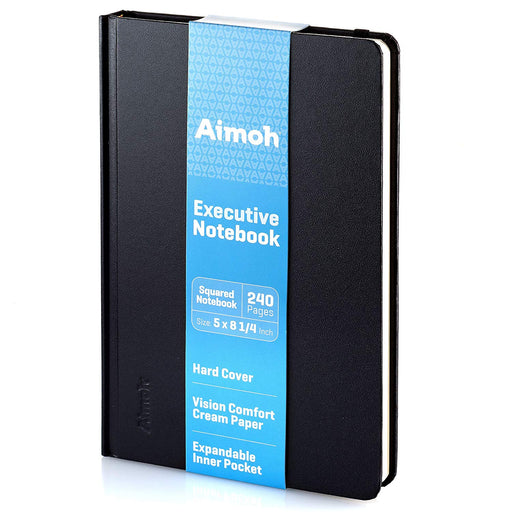 Hardcover Notebook - Squared Pages - Black