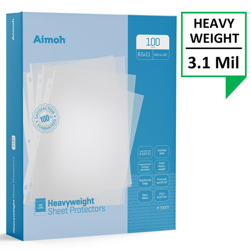 Sheet Protectors - Letter Size - 100 Pack Heavyweight Non-Glare - 8.5 x 11, 3-Hole Punched, Reinforced Edge, PVC/Acid Free-Archival Safe-Print will not lift off, Top Load (13001)