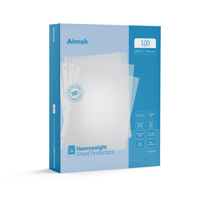 Sheet Protectors - Letter Size - 100 Pack Heavyweight Non-Glare - 8.5 x 11, 3-Hole Punched, Reinforced Edge, PVC/Acid Free-Archival Safe-Print will not lift off, Top Load (13001) - Aimoh